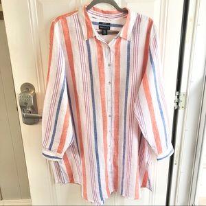 Jones New York 100% linen women's striped shirt dress. Size 1X